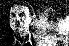 Zeichnung, Bestsellerautor und Schriftsteller Michel Houellebecq rauchend