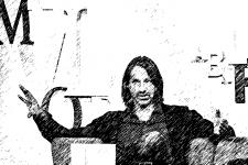 Zeichnung von Philosoph Richard David Precht diskutierend während und über Corona Krise