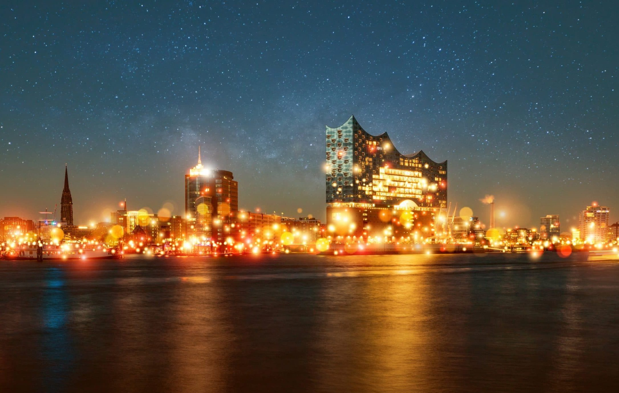 Hamburger Hafen während 21 Million Lights Event