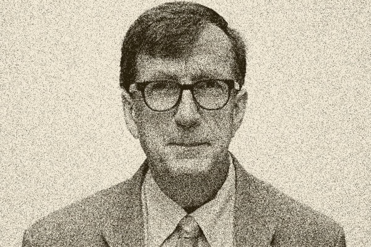 Zeichnung von Soziologe und Philosoph Bruno Latour mit Gelbstich