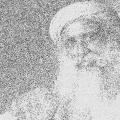 der indische Guru Sadhguru als Zeichnung, Schwarzweiß,
