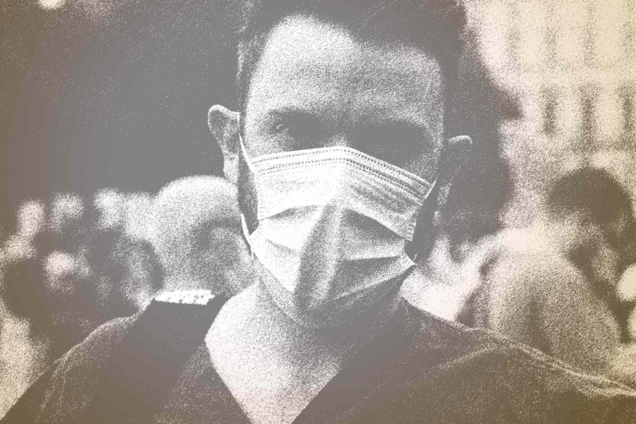 Mann mit Corona-Maske
