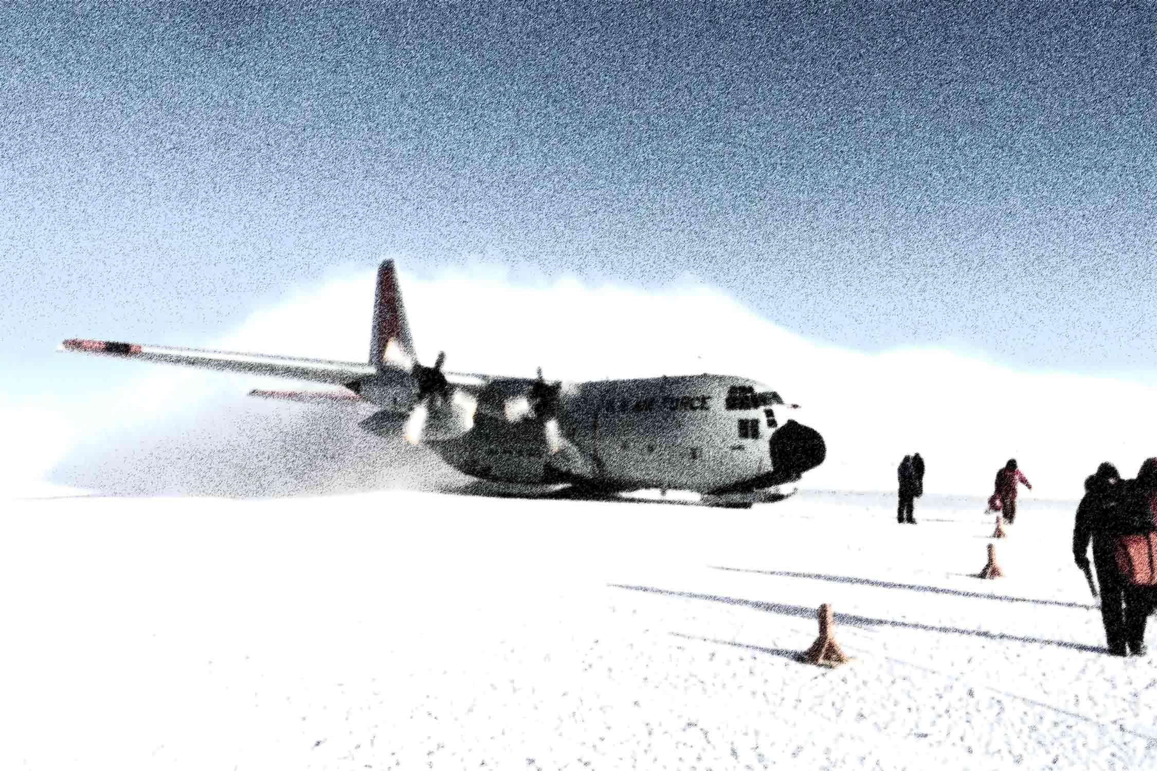 Flugzeug in Schneelandschaft