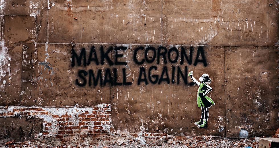 Grafiti mit Text zu Corona Pandemie